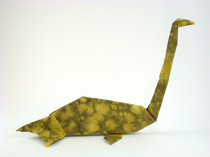 Origami Elasmosaurus by John Montroll Folded from a square of tie-dyed paper by Gilad Aharoni on www.giladorigami.com