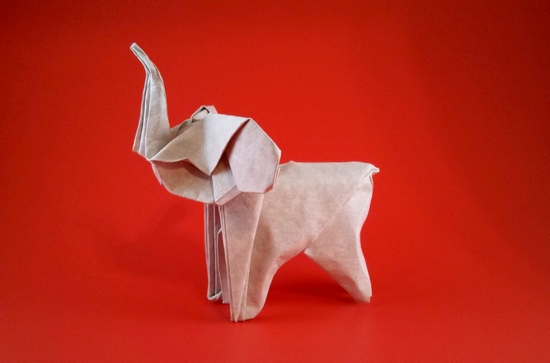 Origami Elephant by Gerard Ty Sovann folded by Gilad Aharoni
