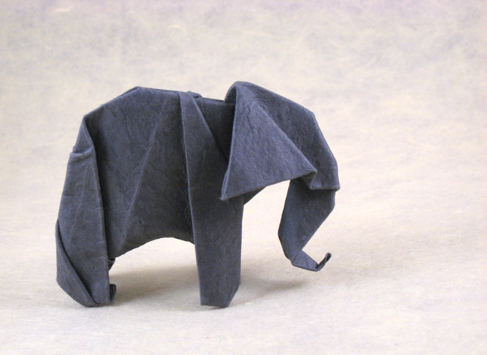Origami Elephant by Robert J. Lang Wet-folded from a square of Wyndstone Mica Charcoal paper by Gilad Aharoni on giladorigami.com