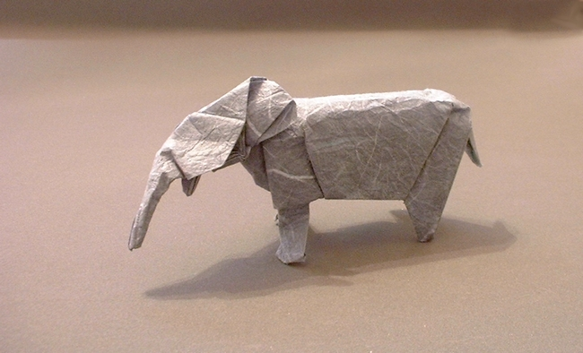 Origami Elephant by David Brill Folded from a square of rice paper by Gilad Aharoni on giladorigami.com