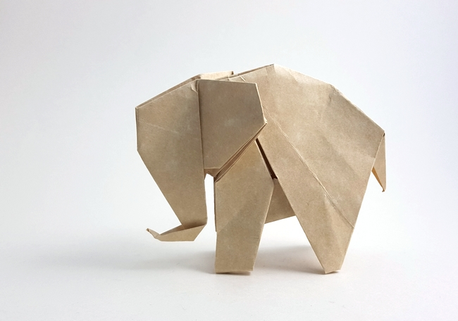 Origami Elephant by Edwin Corrie folded by Gilad Aharoni on giladorigami.com