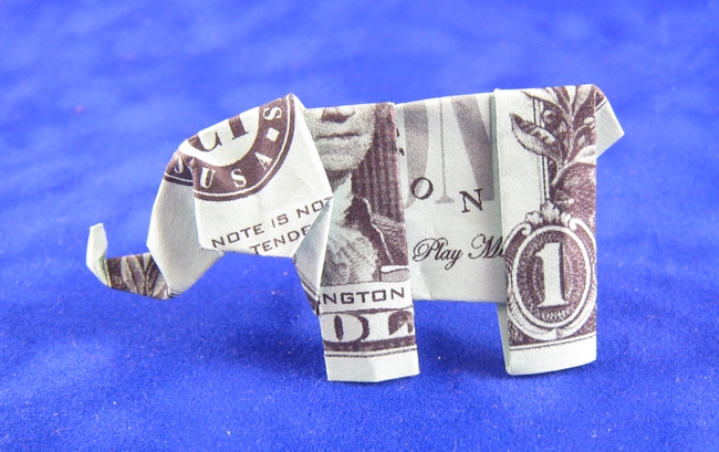 Origami Elephant by Neal Elias Folded from a US dollar bill by Gilad Aharoni on www.giladorigami.com