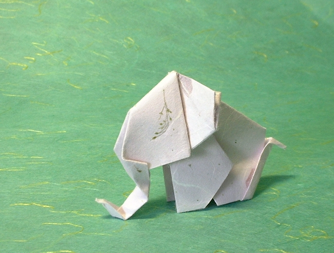 Origami Elephant by Enomoto Nobuyoshi folded by Gilad Aharoni on giladorigami.com