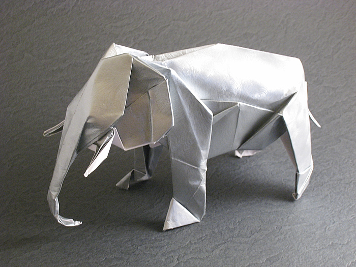 Origami Asiatic elephant by Satoshi Kamiya folded by Gilad Aharoni on giladorigami.com