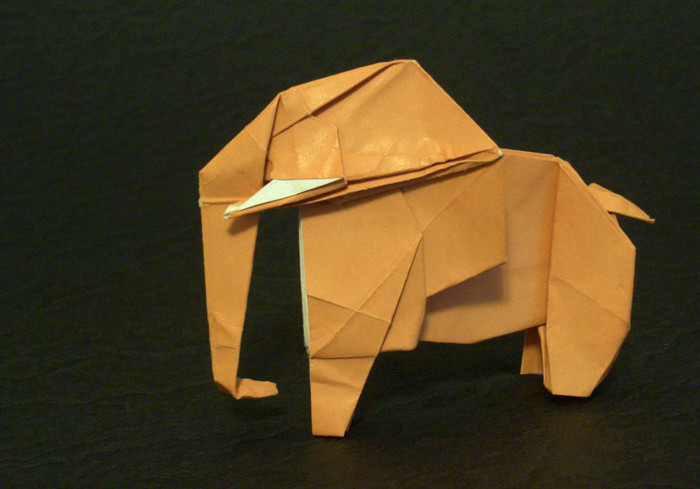Origami Elephant by Kunihiko Kasahara Folded from a square of origami paper by Gilad Aharoni on giladorigami.com