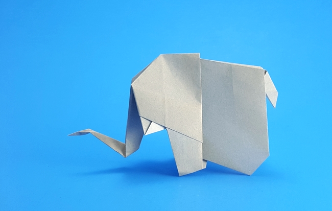 Origami Elephant by Marc Kirschenbaum Folded from a square of origami paper by Gilad Aharoni on giladorigami.com