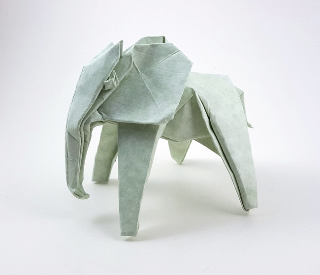 Origami Elephant by Paulius Mielinis Folded from a square of cardstock by Gilad Aharoni on giladorigami.com