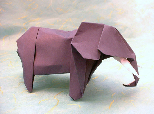 Origami Elephant - African by John Montroll Folded from a square of Fadeless origami paper by Gilad Aharoni on giladorigami.com