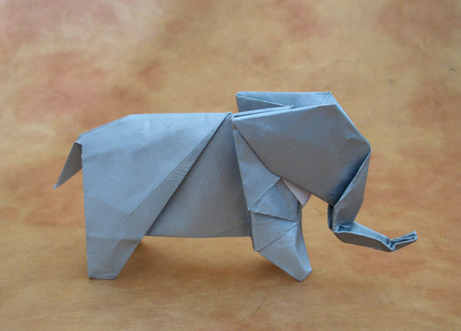 Origami Elephant by Seiji Nishikawa Folded from a square of Gun Metal Pearlescent Swirl paper by Gilad Aharoni on giladorigami.com