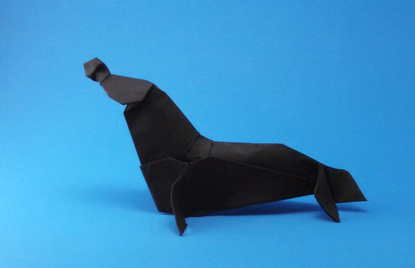Origami Elephant seal by John Szinger Folded from a square of cardstock by Gilad Aharoni on giladorigami.com