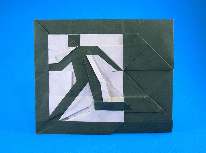 Origami Escape sign by Morisue Kei folded by Gilad Aharoni