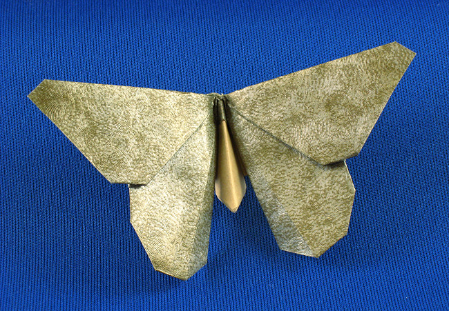 Origami Butterfly - Evangeline Fritillary by Michael G. LaFosse Folded from a rectangle of scrap-book paper by Gilad Aharoni on giladorigami.com