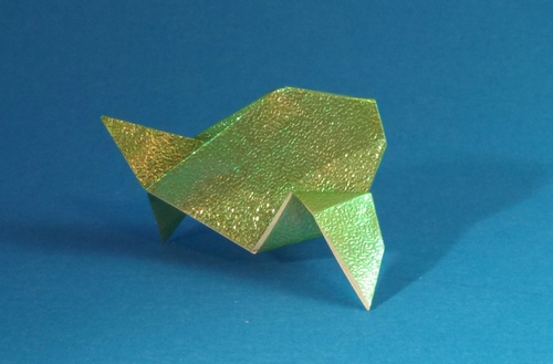 Origami Fish by Paul Jackson Folded from a square of textured holoographic paper by Gilad Aharoni on giladorigami.com