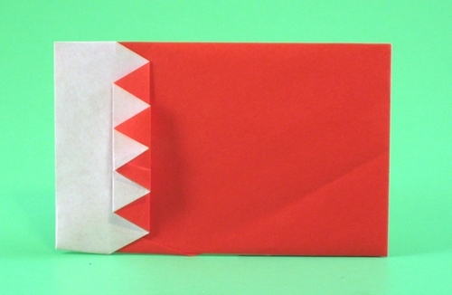 Origami Flag of Bahrain by Gilad Aharoni Folded from a square of origami paper by Gilad Aharoni on giladorigami.com