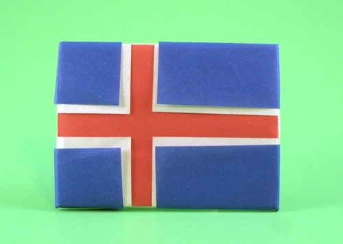 Origami Flag of Iceland by Gilad Aharoni folded by Gilad Aharoni