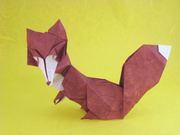 Origami Fox - Vixen by Roman Diaz Folded from a square of double-sided Unryu paper by Gilad Aharoni on giladorigami.com