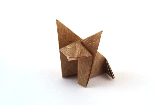 Origami Fox by Traditional Folded from a square of scrap-booking paper by Gilad Aharoni on giladorigami.com