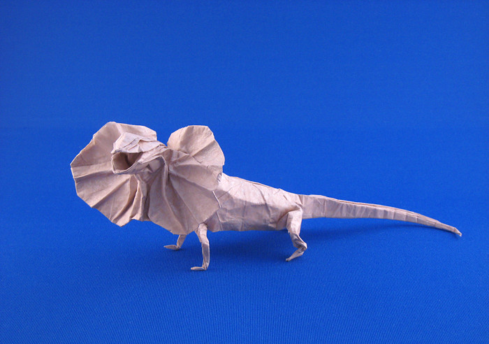 Origami Frill-necked lizard by Ronald Koh folded by Gilad Aharoni