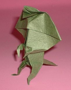 Origami Frill-necked lizard by Jun Maekawa Folded from a square of Vietnamese wrapping-paper by Gilad Aharoni on giladorigami.com