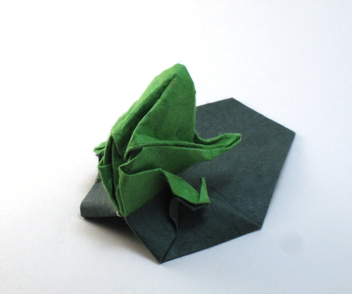 Origami Frog on lily pad by Patricia Crawford folded by Gilad Aharoni on www.giladorigami.com