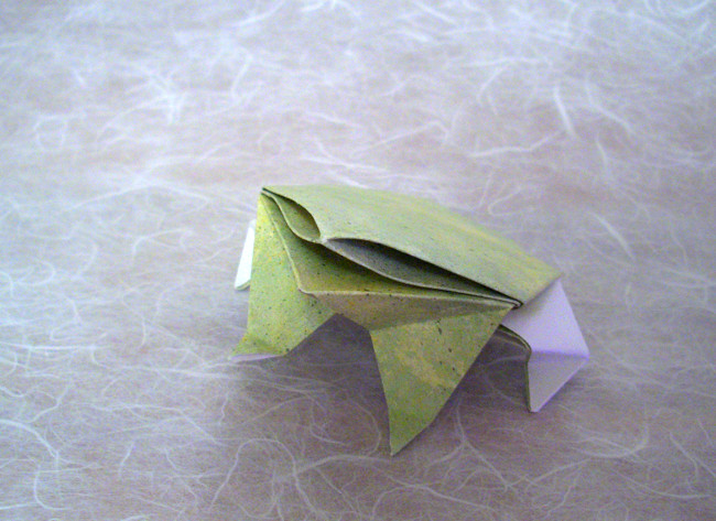 Origami Frog by Jodi Fukumoto Folded from a $-proportioned rectangle of scrap-booking paper by Gilad Aharoni on giladorigami.com
