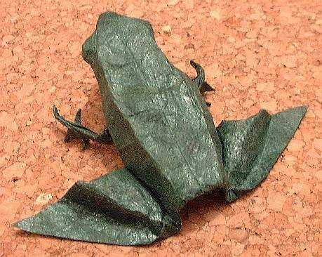 Origami Frog by Michael G. LaFosse Folded from a square of tissue-foil by Gilad Aharoni on giladorigami.com