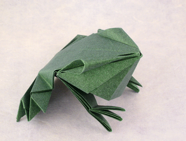 Origami Frog by Jun Maekawa Folded from a square of Elephant-Hide by Gilad Aharoni on giladorigami.com