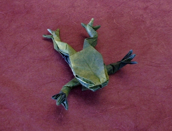 Origami Tree frog by Andrew Stoker Folded from a square of tie-dyed rice paper by Gilad Aharoni on giladorigami.com