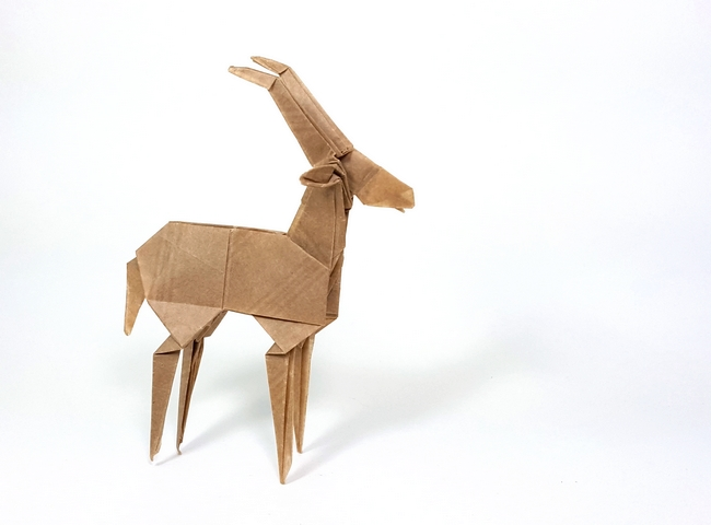 Origami Gazelle by Robert J. Lang Folded from a square of thin brown paper by Gilad Aharoni on giladorigami.com