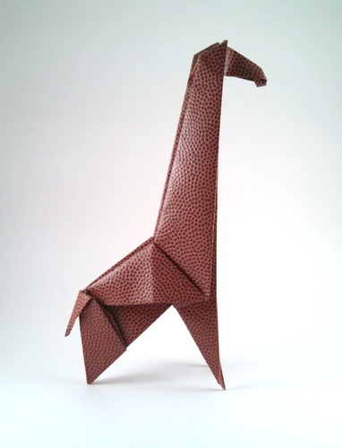 Origami Giraffe by Fumiaki Kawahata Folded from a square of basketball-pattern paper by Gilad Aharoni on giladorigami.com