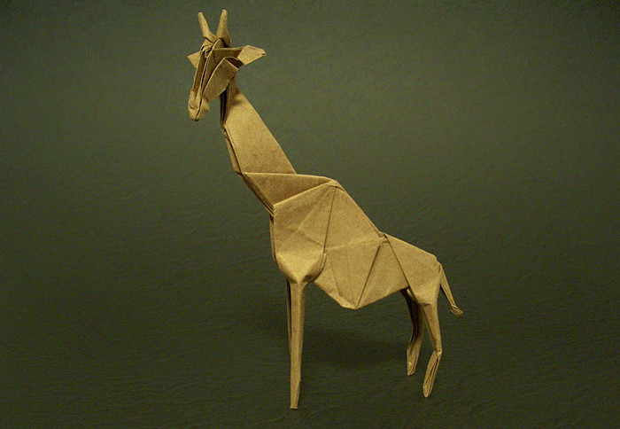 Origami Giraffe by Hideo Komatsu Folded from a square of Trimaco masking paper by Gilad Aharoni on giladorigami.com