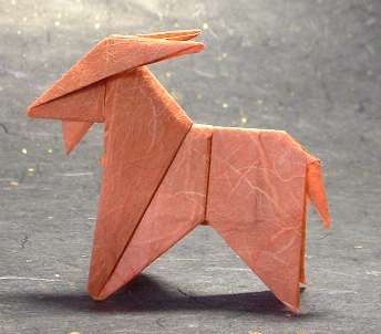 Origami Goat by Peterpaul Forcher Folded from a square of rice paper by Gilad Aharoni on giladorigami.com