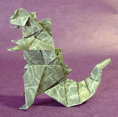 Origami Godzilla by Seiji Nishikawa Folded from a square of animal origami paper by Gilad Aharoni on giladorigami.com