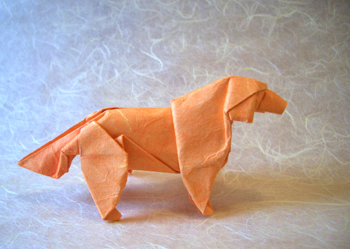 Origami Golden retriever by Satoshi Kamiya Wet-folded from a square of double sided mulberry paper by Gilad Aharoni on giladorigami.com