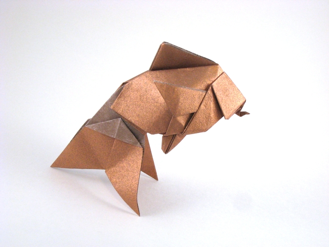Origami Hidekos Goldfish By Robert J Lang Folded From A Square Of Nicolas Terrys Tissue