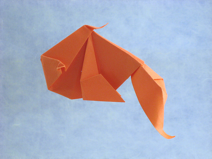 Origami Goldfish by Katrin Shumakov Folded from a square of Tant paper by Gilad Aharoni on giladorigami.com