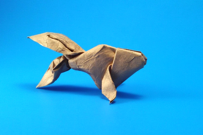 Origami Goldfish by Akira Yoshizawa Wet-folded from a square of India Gold scrapbooking paper by Gilad Aharoni on giladorigami.com