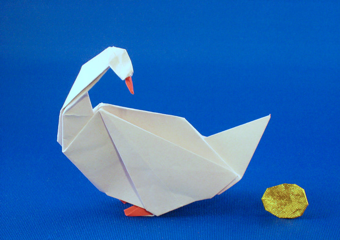 origami goose golden egg