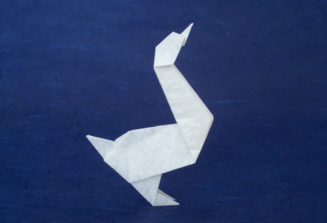 Origami Goose by John Montroll Folded from a square of Alabaster origami paper by Gilad Aharoni on giladorigami.com