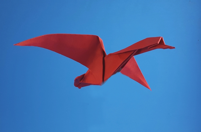 Origami Wild goose by Akira Yoshizawa Folded from a triangle of cardstock by Gilad Aharoni on giladorigami.com