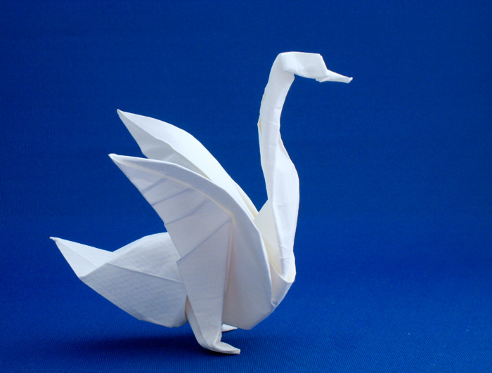 Origami Goose by Jozsef Zsebe Wet-folded from a square of Canson art paper by Gilad Aharoni on giladorigami.com