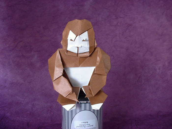 Origami Gorilla - baby by Gohara Toshio Folded from 2 squares of origami paper by Gilad Aharoni on giladorigami.com