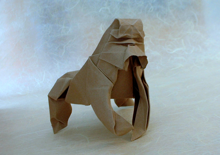 wet folded origami gorilla by Herman Van Goubergen