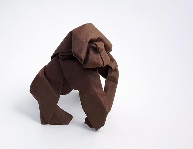 Origami Gorilla by Nicolas Terry Wet folded from a square of Canson paper by Gilad Aharoni on giladorigami.com