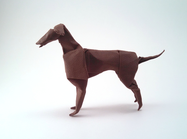 Origami Greyhound by John Montroll Wet folded from a square of Canson art paper by Gilad Aharoni on giladorigami.com