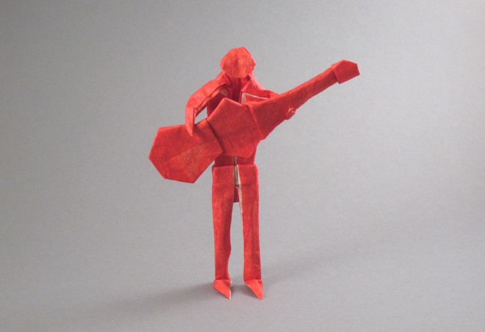Origami Guitarist by Marc Kirschenbaum folded by Gilad Aharoni on giladorigami.com