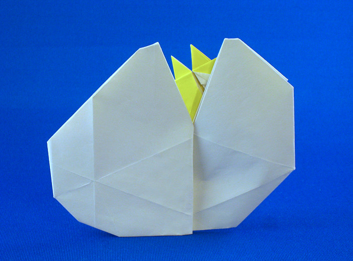 origami hatching chick