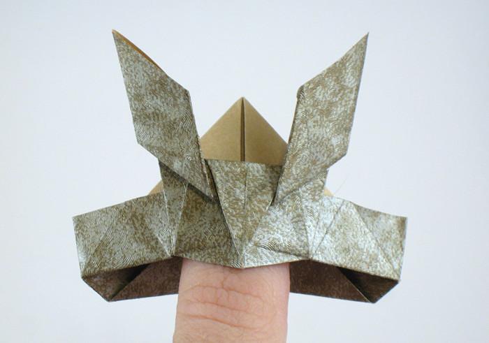 Origami Samurai Helmet By Jun Maekawa Folded From A Rectangle Of Scrap Booking Paper