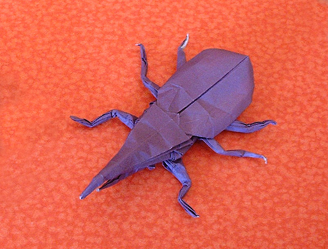 Origami Hercules beetle by Robert J. Lang Folded from a square of origami paper by Gilad Aharoni on giladorigami.com