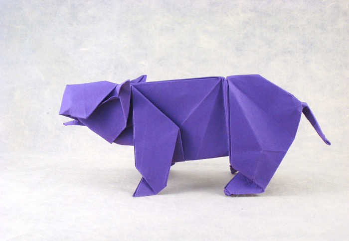 Origami Hippopotamus by Steven Casey Folded from a square of cardstock by Gilad Aharoni on giladorigami.com